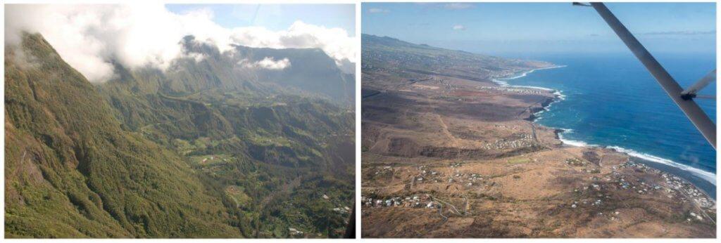 La différence de paysage entre l'Est et l'Ouest de la Réunion
